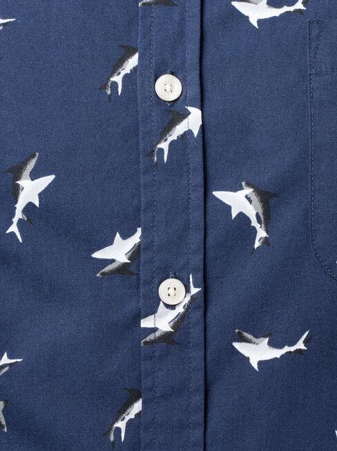 Marine Short Sleeve Print Shirt, Blue, hi-res