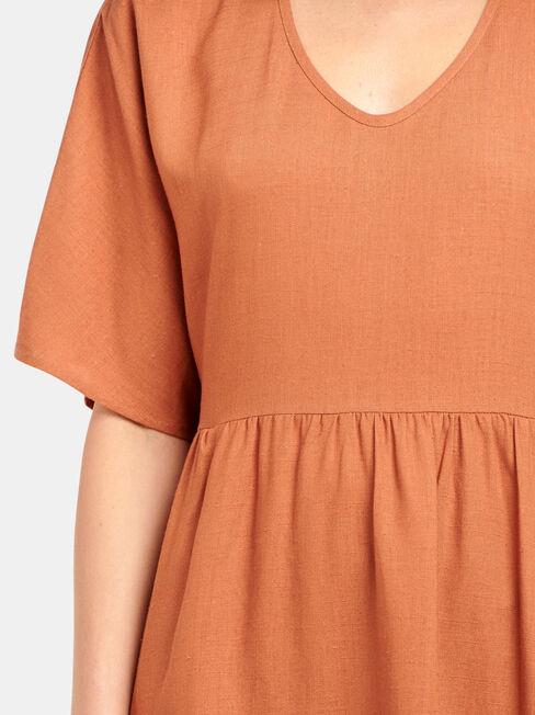Bec Linen Blend Dress, Red, hi-res