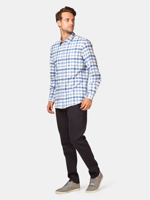 Kevin Long Sleeve Check Shirt, White, hi-res