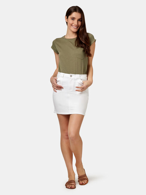 Mel Patch Pocket Skirt, White, hi-res
