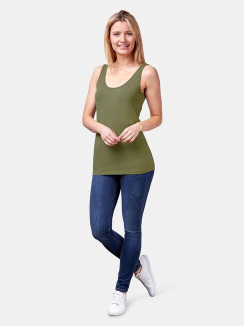 Lola Cotton Basic Tank, Green, hi-res
