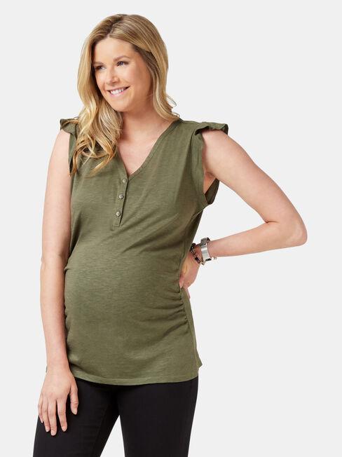 Zoe Maternity Henley, Green, hi-res