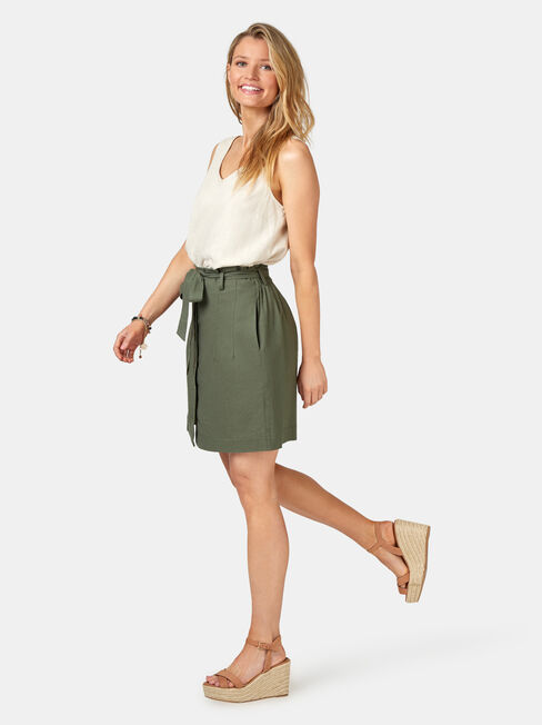 Clara Tie Waist Skirt, Green, hi-res