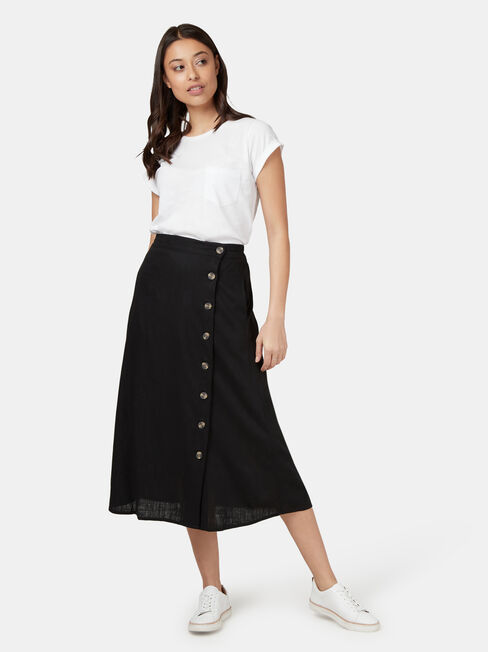 Daisy Button Front Skirt, Black, hi-res