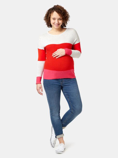Lois Maternity Slim Boyfriend, Blue, hi-res