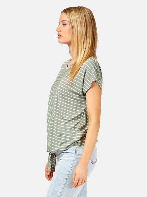 Talia Stripe Tie Front Tee, Green, hi-res