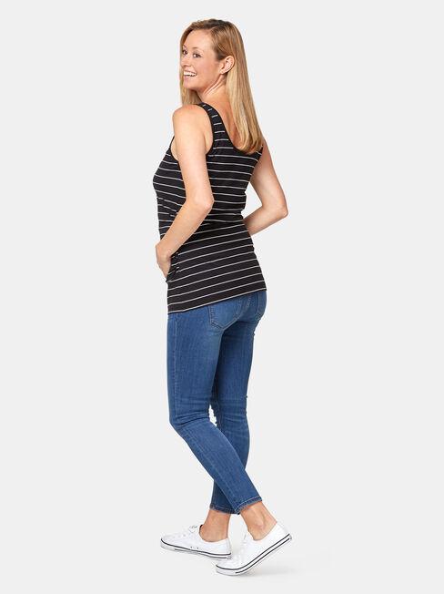 Lola Maternity Cotton Basic Tank, Stripe, hi-res