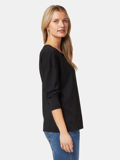 3/4 Sleeve Drop Shoulder Tee, Black, hi-res