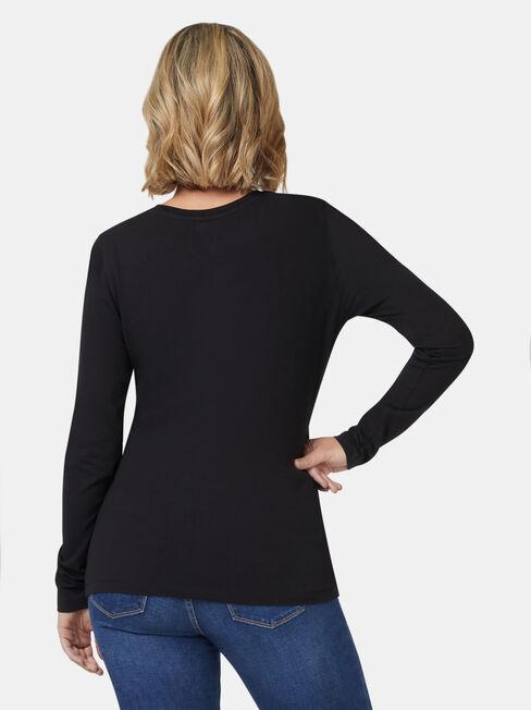 Natalie Basic Long Slv Top, Black, hi-res