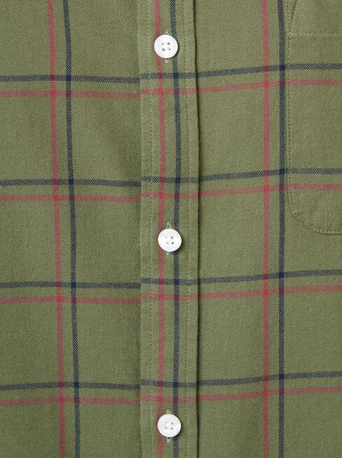 LS Mason Brushed Check Shirt, Green, hi-res