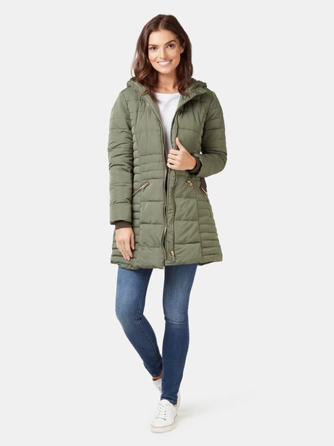 Rory Longline Padded Puffer Jacket, Green, hi-res