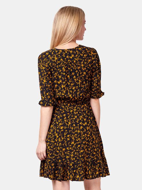 Isabel Cross Over Dress, Black, hi-res