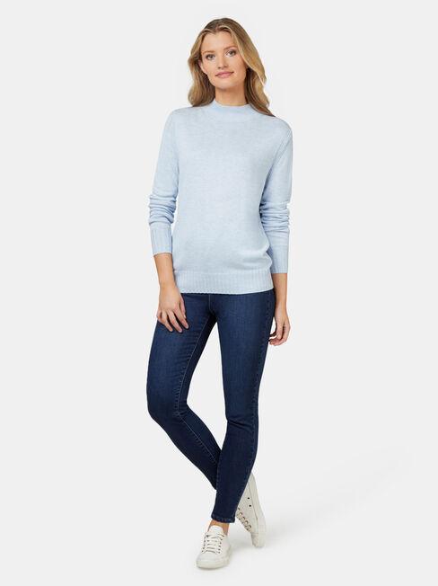 Kara Essential Funnel Neck Pullover, Blue, hi-res