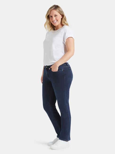 Curve Embracer Slim Straight jeans Deep Sea Blue, Mid Indigo, hi-res