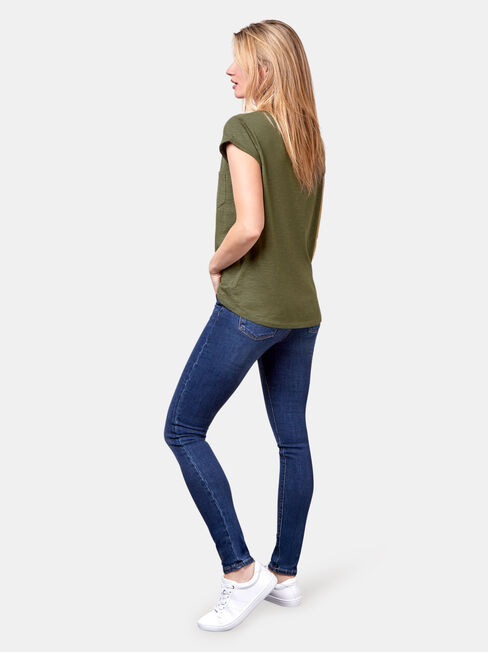 Essential Slub Pocket Tee, Green, hi-res