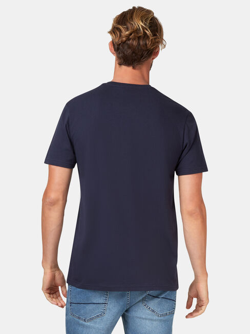 SS Ledger Print Crew Tee, Blue, hi-res