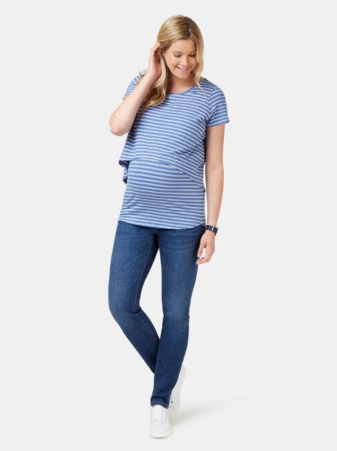 Cerese Layered Maternity Top, Stripe, hi-res