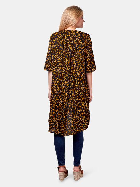 Monica Longline Kimono, Black, hi-res