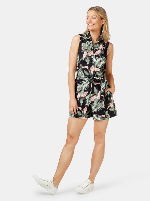 Petal Sleeveless Playsuit, Floral, hi-res