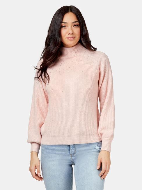 Uma Embellished Pullover, Pink, hi-res
