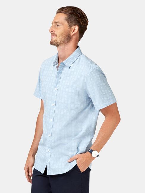 Leon Short Sleeve Textured Shirt, Blue, hi-res