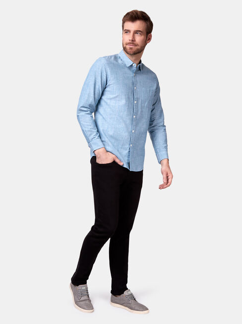 Vincent Long Sleeve Stripe Shirt, Green, hi-res