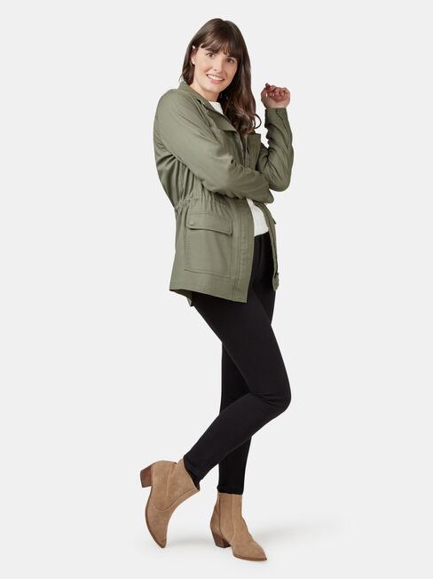Connie Cotton Casual Jkt, Green, hi-res