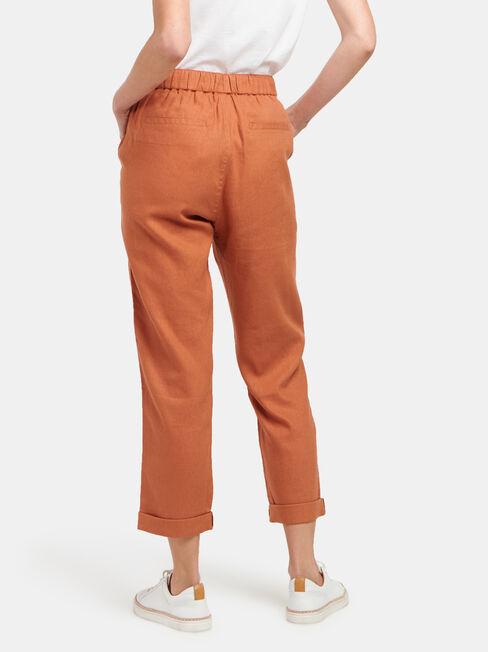 Linen Blend Pant, Red, hi-res