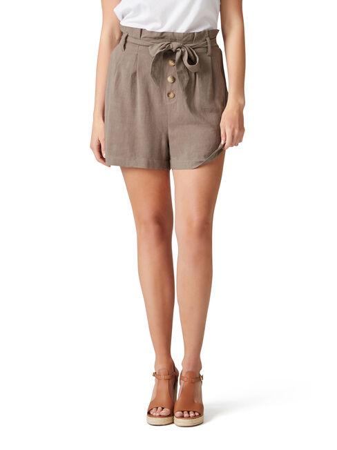 Pippa Linen Blend Tie Front Short, Brown, hi-res