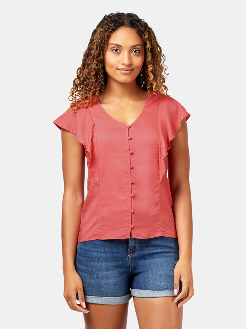 Maria Ruffle Blouse, Red, hi-res