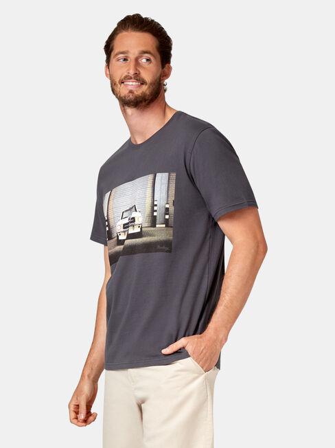 Flint Short Sleeve Print Crew Tee, Grey, hi-res