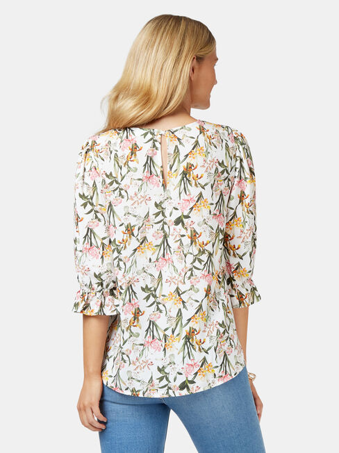 Cami Printed Blouse, White, hi-res