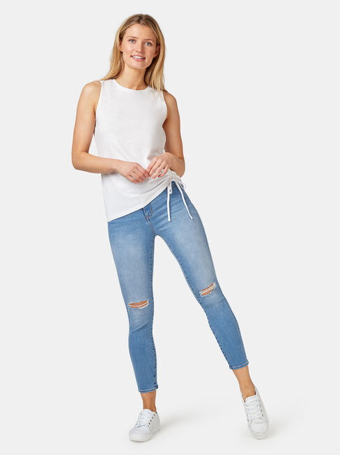 Brielle Rouched Side Tank, White, hi-res