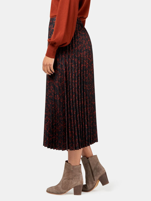 Heidi Pleat Skirt, Black, hi-res