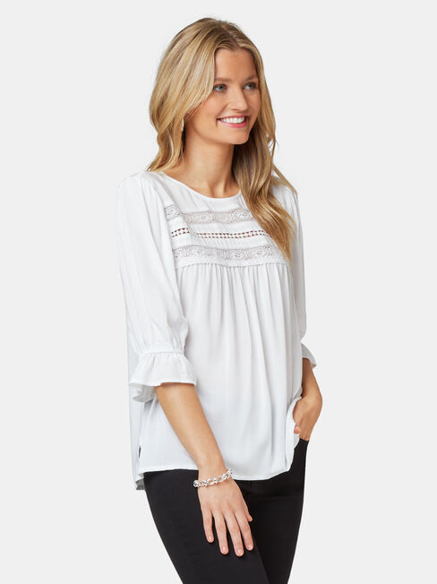 Louisa Lace Yoke Blouse, White, hi-res