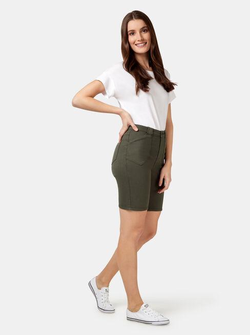 Helen Patch Pocket Knee Length Short, Green, hi-res