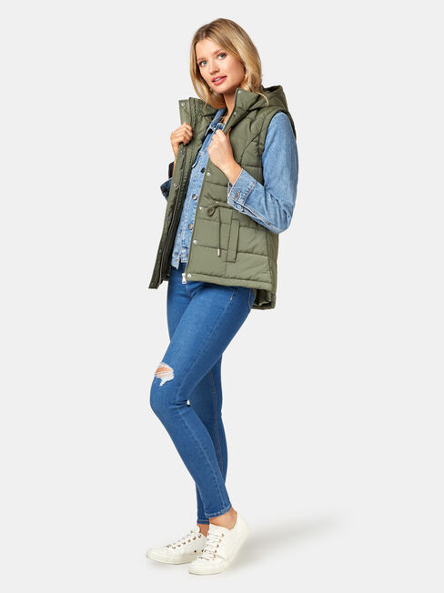 Bella Padded Vest, Green, hi-res