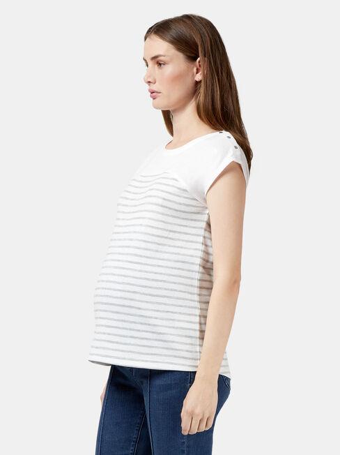 Kim Maternity Stripe Tee, Green, hi-res
