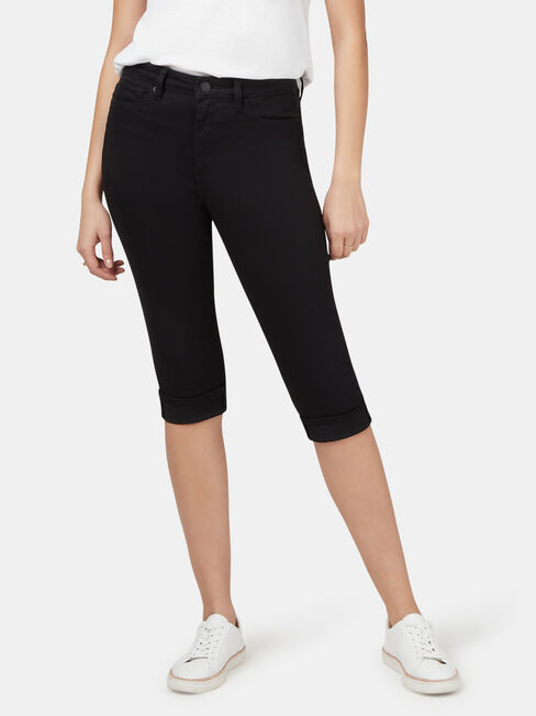 Mid Waisted Pedal Pusher Black