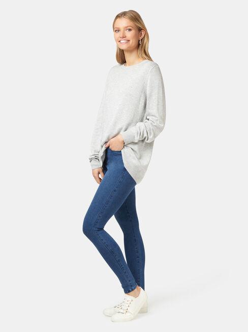 Aspen Essential Curve Hem Pullover, Grey, hi-res