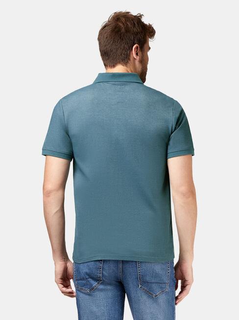 Brent Short Sleeve Pique Polo, Grey, hi-res