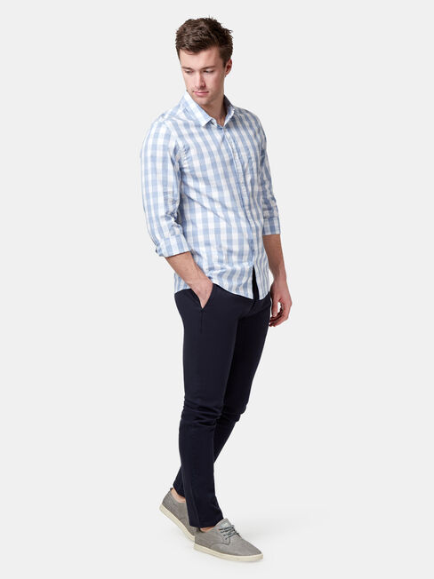 Ollie Long Sleeve Check Shirt, Blue, hi-res
