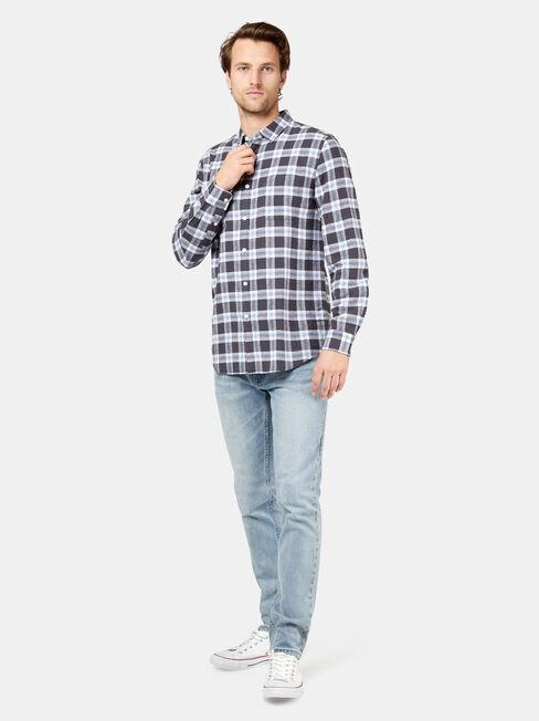 LS Burt Check Shirt, Blue, hi-res