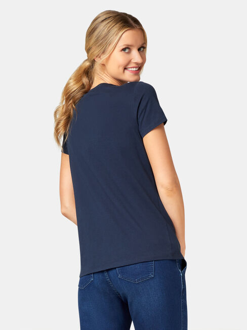 Embellished Slogan Tee, Blue, hi-res