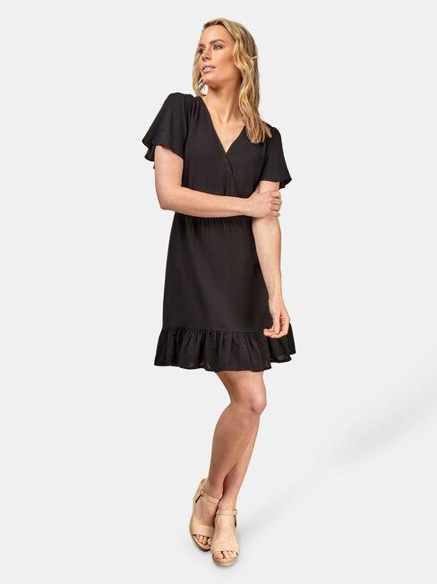 Claire Ruffle Dress, Black, hi-res