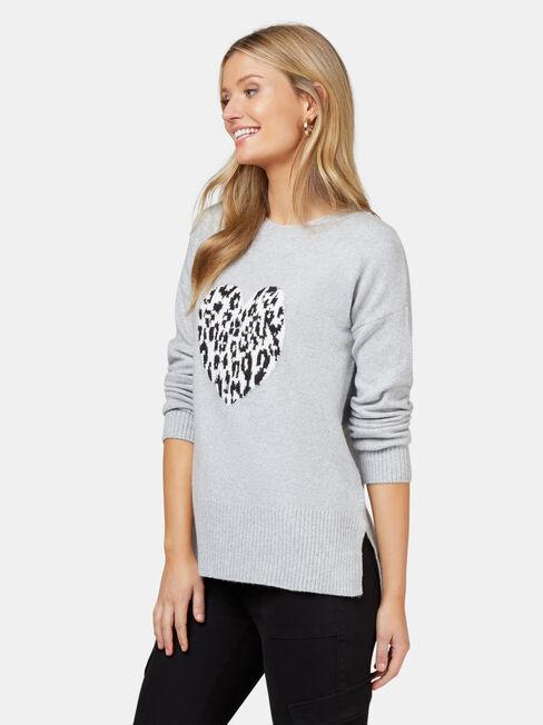 Ceilia Leopard Heart Knit, Grey, hi-res