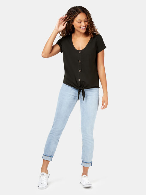 Tina Tie Button Front Tee, Black, hi-res