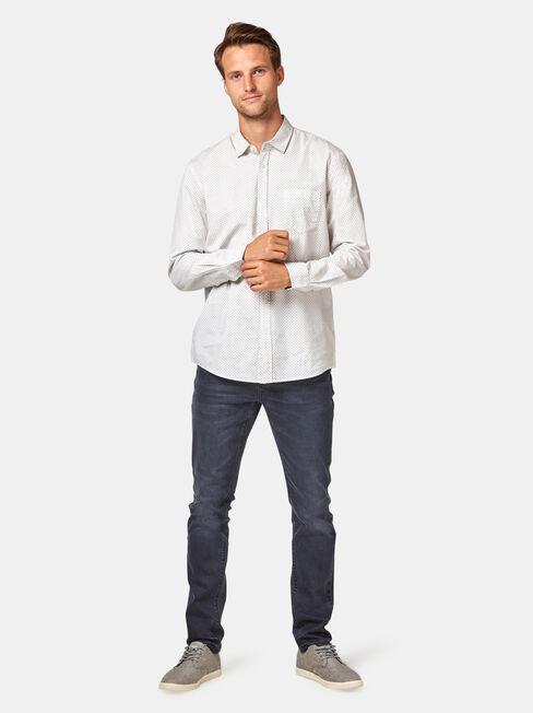 LS Cam Printed Shirt, White, hi-res