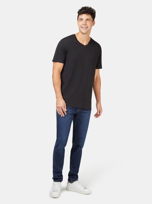 Basic Short Sleeve V-Neck Tee, Black, hi-res