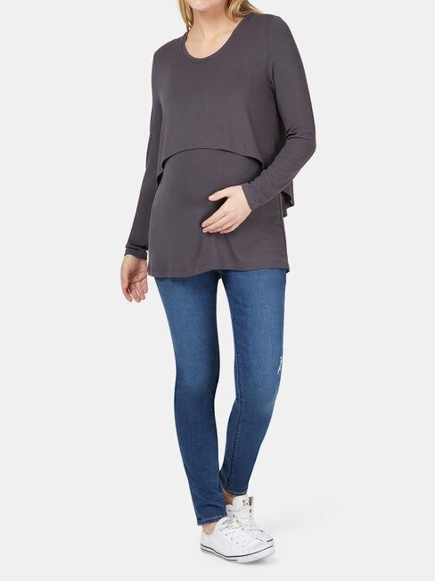 Lauren Layered Maternity Top, Grey, hi-res